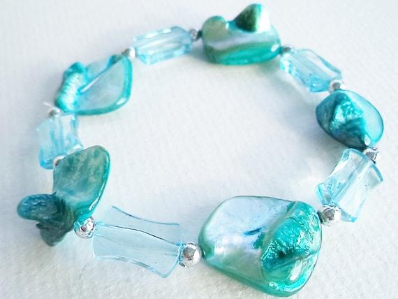 Aqua Mother of Pearl Bracelet