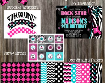ROCK STAR Turquoise & Pink Birthday Party Package - Girl Printable
