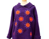 Purple oversized poncho style hoody , sweater with warmer cuffs
