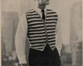 1950 Mid-Century Vintage Crochet Vest Pattern for Men PDF