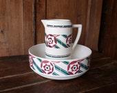 French antique jug and bowl, toilet set,  pitcher, vase, Badonviller, 1900,  cream, green,  red,  bathroom deco, French vintage housewares
