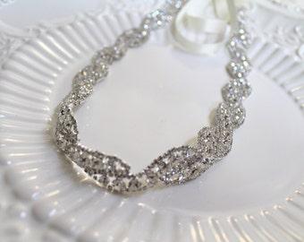 Bridal Twisted Jewel Crystal Wedding Sash.  Rhinestone Woven Wedding Belt. TWISTED DIAMONDS