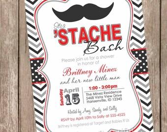 Chevron Stache Bash Baby Shower Invitation, mustache invitation, little man invitation, mustache, red, grey, black, printable invitation