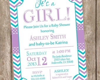 It's a girl baby shower invitation,purple, teal, chevron baby shower invitation, typography, chevron, printable invitation