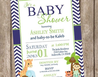 Safari Baby Shower Invitation, safari, chevron, navy and lime green, jungle, typography, printable invitation