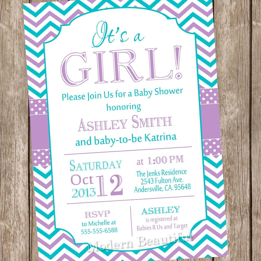 it 39 s a girl baby shower invitationpurple teal chevron