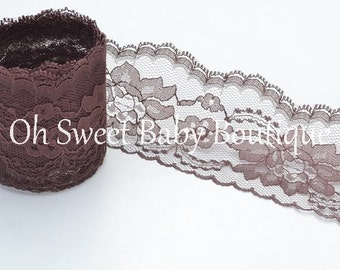 """3"""" Floral Lace Brown 3 Yards"""