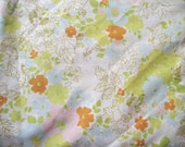 Vintage MINT CONDITION Penney's Spring Bright Floral Orange Yellow Green Pink Blue Cotton Muslin No Iron Flat Sheet - Full Size 81x104""