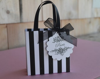 Paris Black stripe party favor bags