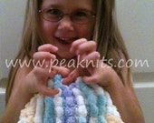 Baby Blanket Hand Knit, Travel Blanket, Small - Blue, Teal, Yellow and White in Knit Stitch with Pompom Yarn