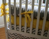 Made to Order- 4pc gray and white elephant with bright yellow accents crib bedding set