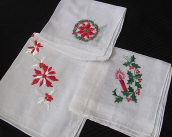 Lot of 3 Assorted White Embroidered Cotton Hankies - Christmas