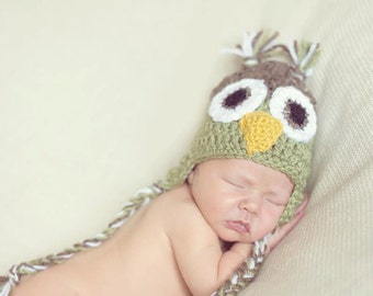 Light Green and Brown Crochet Owl Earflap Hat with Big Eyes