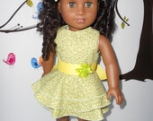 "Doll clothes 18"" dolls American Girl lemon lime dress ruffles with gold sandals handmade in USA"