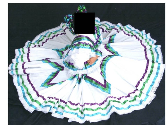 RESERVED Mexican folklorico WHITE Jalisco dress for American