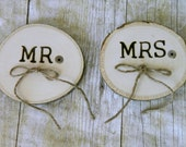 small tree slab as ringbearer's pillow for a country wedding MR and MRS