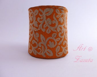 Orange and Dull Gold Floral   embroidered  Fabric trim- 1 Yard