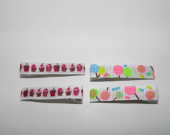 Cupcake and neon candy everyday hair clips set.