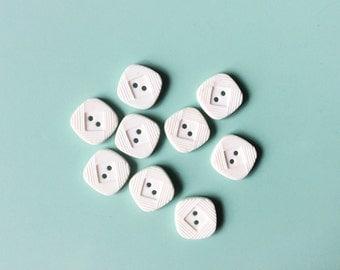 9 White Square Button, Vintage Buttons