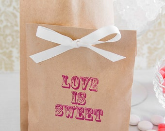Paper Candy Bar Bags - Wedding Candy Bar Bags - Love Is Sweet Favor Bags