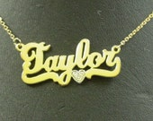 "name  necklace ,  14k solid gold , 1 diamond .  with solid gold  chain. ""name14"""