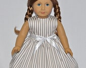 Fits American Girl Doll - Handmade Doll Clothes - Simple and Cute Striped Dress and Removable Ribbon