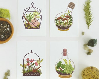 Terrarium Postcard SET 4pcs