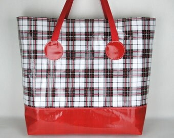 Oversized Beach Bag , Oilcloth Beach Bag in Red Black and White Plaid