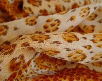 Wild Sale-Leopard Print Silk Scarf- Vintage Retro- 21 x 21 inch