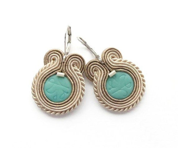 Round Turquoise Earrings Soutache Earring Turquoise Earring Turquoise Earings Turquoise Jewelry Unique Big Earrings Soutache Embroidered