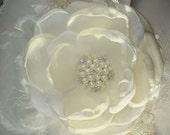 Christening, Baptism, Blessings Cream and White Baby Flower Headband, Photography Prop, Clothing, Wedding Headband