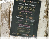 sip and see invitation gender neutral gender reveal baby sprinkle chalkboard tribal arrows girl boy coed (item 1345) shabby chic invitations