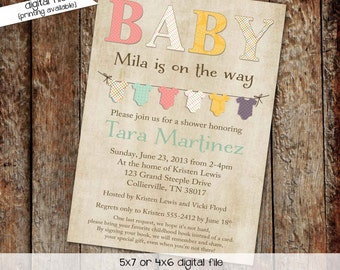gender neutral baby shower invitations bodysuit bunting banner gender reveal invitation stock the library (item 1443) shabby chic invitation