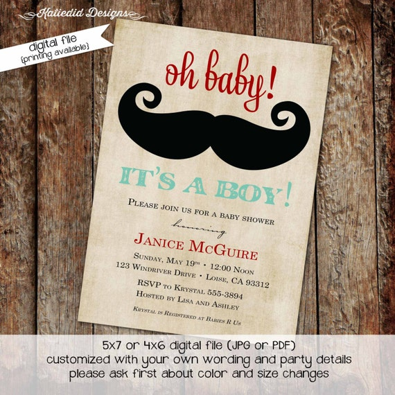 little man baby shower invitation mustache bash couples shower diapers for dad diaper wipe brunch co-ed party invite 1277 Katiedid Designs