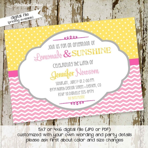 rustic baby girl shower invitation diaper wipe brunch sip and see pink yellow chevron polka dots sunshine lemonade gay 1354 Katiedid Designs