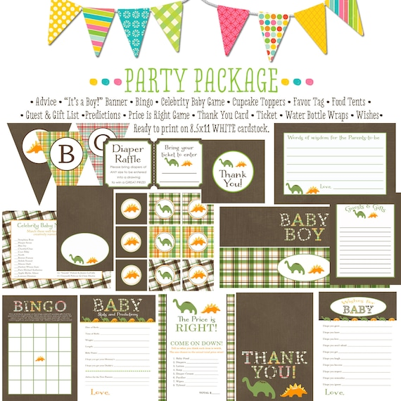 BABY BOY dinosaur item 1206 package AS Is Matching games, ticket, banner bingo, thank you card, water bottle wraps, cupcake toppers