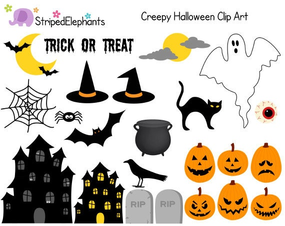 Creepy Halloween Clipart Digital Clip Art by StripedElephants