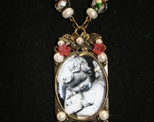 Mourning necklace sad angel picture cemetery angel oval cameo frame glass bubble glass rose beads pearl beads Dr. Who
