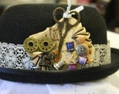 Steampunk seamstress hat pin collage bobbins wings scissors thread buttons pins thimble one of a kind unique