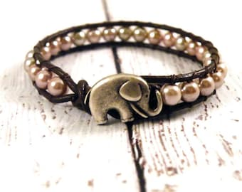 Boho Little Elephant Beige Pearls with on Chocolate Brown Leather Wrap Bracelet/ Lucky Girl/ Urban Modern Boho Chic/ Ready to Ship