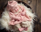 Gracie PATTERN Pack, Includes Dress, Pantaloons, and Beret Newborn, Dresses, Spring, Summer Knits, Photo Props, Photography Props, Classic