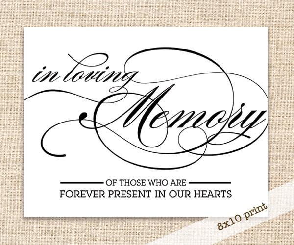 In loving memory sign printable diy 8x10 sign wedding for In loving memory free printable