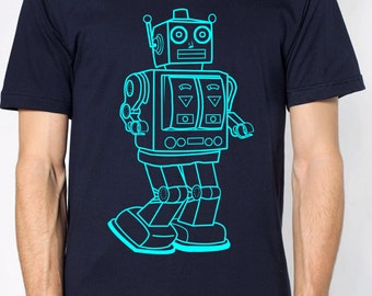 mens vintage robot t shirt- American Apparel navy blue- available in s, m, l, xl, xxl- Wordwide Shipping