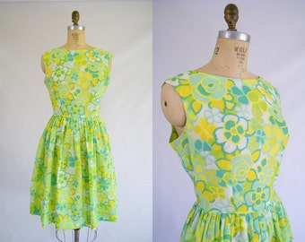 Vintage 1950s Dress / Garden Party Dress / Green, Yellow, White Floral