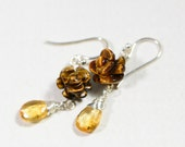Tiger Eye Corved Rose Earrings Citrine drop earrings Multi stone Earrings Gemstone Earrings