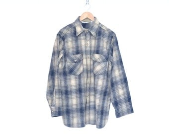 Vintage Woolrich Blue & Tan Classic Flannel Shirt, Made in USA