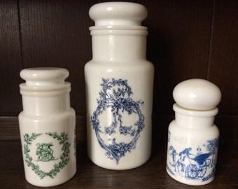 Vintage Belgian milk glass apothecary storage jars mismatched set of 3 circa 1950's / English Shop