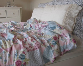 Duvet cover-romantic-shabby chic bedding-girls dorm room-Pink mint green blue roses floral patchwork print-Twin XL Queen King custom bedding