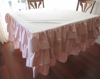 Linen Table skirt-skirted table cloth-Waterfall ruffled tablecloth 3 row-shabby chic country party table cloths custom size color,pink, blue