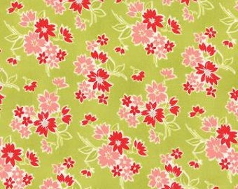 "LAST PIECE 1 Yard 20"" of Miss Kate Spring Apple Green Floral by Bonnie & Camille for Moda"